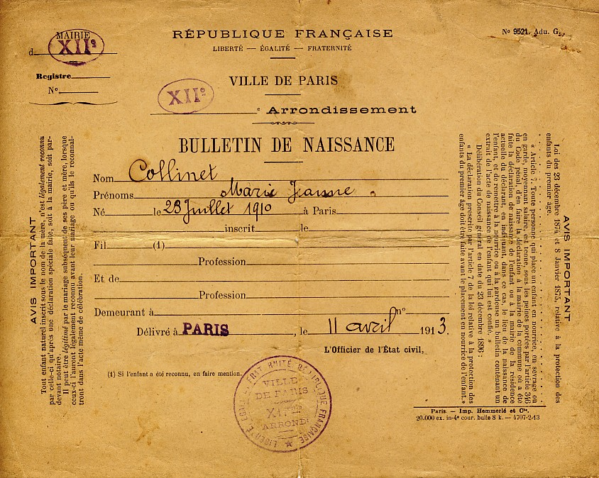birth certificate France